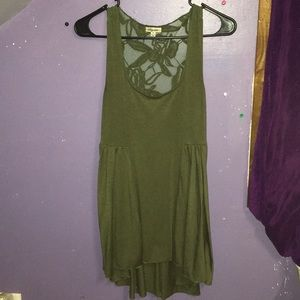 Cute green lace long in back short in front shirt